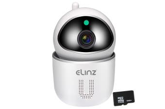 Elinz Security Camera WiFi IP Smart Auto Tracking HD Wireless Pan Tilt CCTV 1080P 32GB White