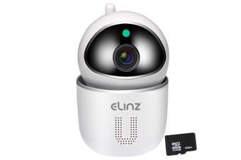 Elinz Security Camera WiFi IP Smart Auto Tracking HD Wireless Pan Tilt CCTV 1080P 32GB White