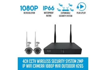 Elinz 4CH CCTV Wireless Security System 2MP IP WiFi 2x Camera 1080P NVR Outdoor No Hard Drive Included
