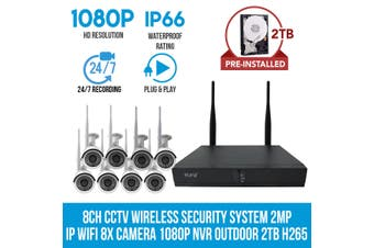 Elinz 8CH CCTV Wireless Security System 2MP IP WiFi 8x Camera 1080P NVR Outdoor 2TB H265