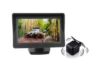 "Elinz 4.3"" LCD Monitor 12V Wireless car rearview kit CMOS Car Truck Reversing Camera"