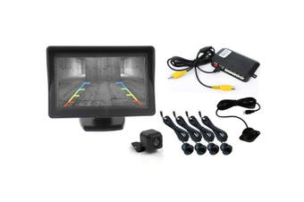 "Elinz 4.3"" Monitor CMOS 170° Car Reversing Camera 600TVL 4 Ultrasonic Parking Sensors"