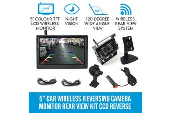 "Elinz 5"" Car Wireless Reversing Camera Monitor Rear View Kit CCD Reverse 12V 24V"