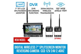"Elinz Digital Wireless 7"" Splitscreen Monitor DVR Reversing 1x Camera CCD 12V 24V 2.4GHz"