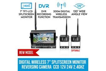 "Elinz Digital Wireless 7"" Splitscreen Monitor DVR Reversing 2x Camera CCD 12V 24V 2.4GHz"