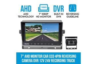 """Elinz 7"""" 1080P AHD Monitor Car 4PIN Reversing Camera DVR 12V 24V Recording Truck Caravan Splitscreen"""