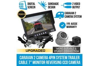 "Elinz Caravan Two Camera 4PIN System Trailer cable 7"" Monitor HD 12V/24V Reversing CCD Camera Kit"