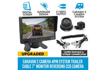 "Elinz Caravan 2x Camera Reversing 4PIN CCD Kit System Trailer Cable 7"" Monitor HD 12V/24V Black"