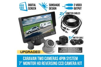 "Elinz Caravan Two Camera 4PIN System 7"" Monitor HD 12V/24V Reversing CCD Camera Kit"