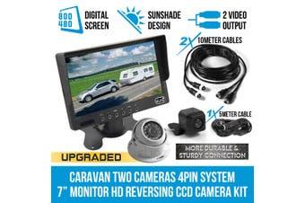 """Elinz Caravan Two Camera 4PIN System 7"""" Monitor HD 12V/24V Reversing CCD Camera Kit"""