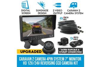"Elinz Caravan Two Camera Reversing 4PIN CCD Kit System 7"" Monitor HD 12V/24V Black"