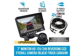 """Elinz 7"""" Monitor HD 12V/24V Reversing CCD Eyeball Camera (BLACK) Truck Caravan"""