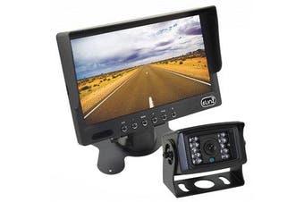 "Elinz 7"" LCD Monitor HD 12V/24V 4PIN IR CCD Reversing Camera Rearview Built-in Mic BLACK"