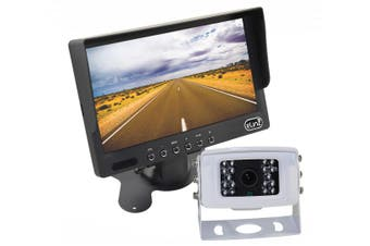 "Elinz 7"" LCD Monitor HD 12V/24V 4PIN IR CCD Reversing Camera Rearview Built-in Mic WHITE"