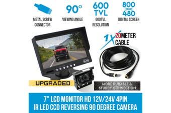 """Elinz 7"""" HD LCD Monitor 12V/24V IR CCD 4PIN Car Reversing Camera Truck Caravan"""
