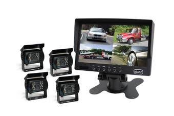 "Elinz 7"" Quad Monitor Splitscreen Colour CCD Reversing 4x Camera 4PIN Kit Truck Caravan"