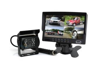 "Elinz 7"" Quad Monitor Splitscreen Colour CCD Reversing 1x Camera 4PIN Kit Truck Caravan"