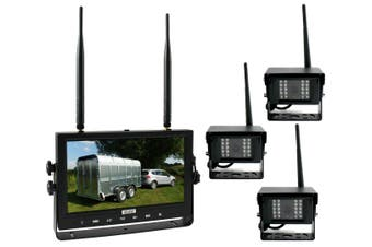 "Elinz Digital Wireless 9"" Quad Splitscreen Monitor DVR Reversing 3x Camera CCD 12V 24V 2.4GHz"