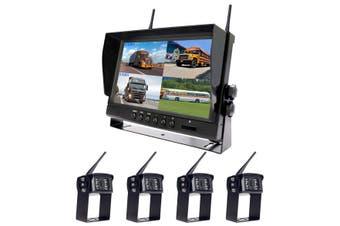 "Elinz Digital Wireless 9"" Quad Splitscreen Monitor DVR Reversing 4x Camera CCD 12V 24V 2.4GHz"
