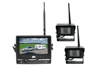 "Elinz Digital Wireless 9"" Splitscreen Monitor DVR CCD Reversing 2x Camera 2.4GHz 12V 24V"