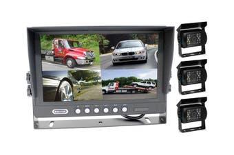 "Elinz 9"" Splitscreen Monitor 4PIN Colour CCD IR Rearview Reversing 3x Cameras Package"
