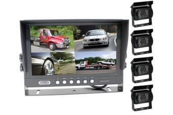 "Elinz 9"" Splitscreen Monitor 4PIN Colour CCD IR Rearview Reversing 4x Cameras Package"