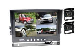 "Elinz 9"" Splitscreen Monitor 4PIN Colour CCD IR Rearview Reversing 2x Cameras Package"