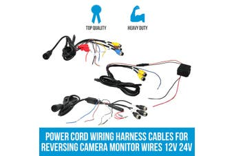 Elinz Power Cord Wiring Harness Cables for Reversing Camera Monitor Wires 12V 24V