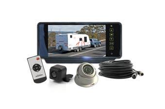"Elinz 7"" Rearview Mirror Monitor Caravan 2 Reversing Camera 4PIN System Kit CCD Elinz"