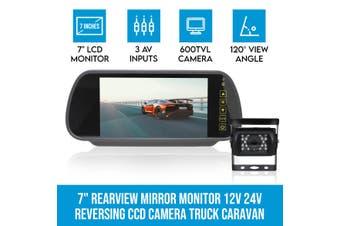 """Elinz 7"""" Rearview Mirror Monitor 12V 24V Reversing CCD Camera Truck Caravan"""