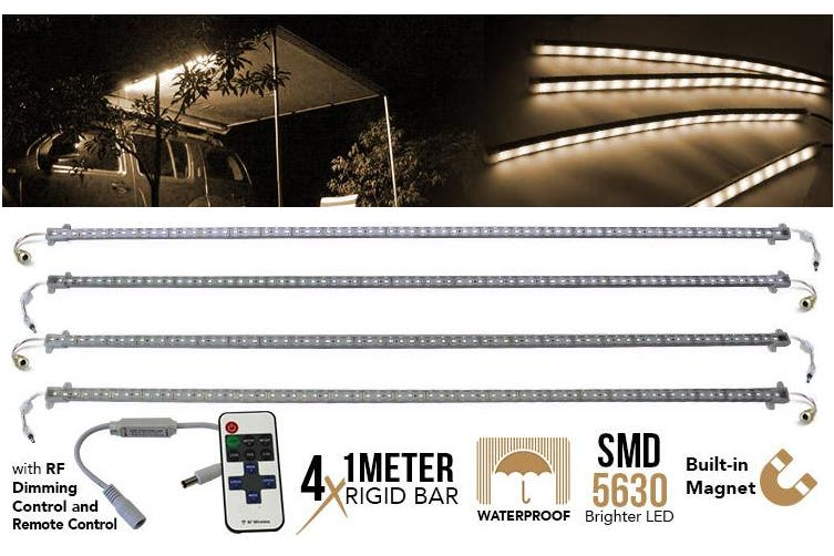 Elinz 4x 1M LED Strip Light Bar Rigid Bars Magnet 12V Waterproof SMD 5630 + RF Remote