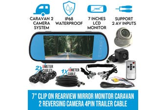 "Elinz 7"" Clip on Rearview Mirror Monitor Caravan 2 Reversing Camera 4PIN Trailer Cable"