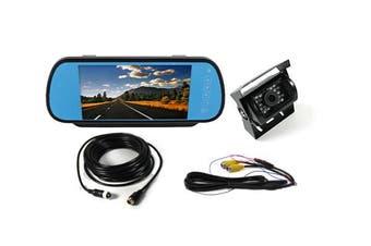 """Elinz 7"""" Clip on Rearview Mirror Monitor 12V/24V Reversing 4PIN CCD Camera Car Caravan"""