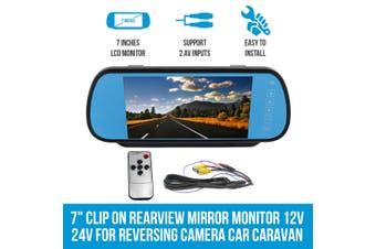 """Elinz 7"""" Clip on Rearview Mirror Monitor 12V 24V for Reversing Camera Car Caravan"""