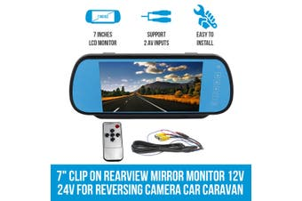 "Elinz 7"" Clip on Rearview Mirror Monitor 12V 24V for Reversing Camera Car Caravan"