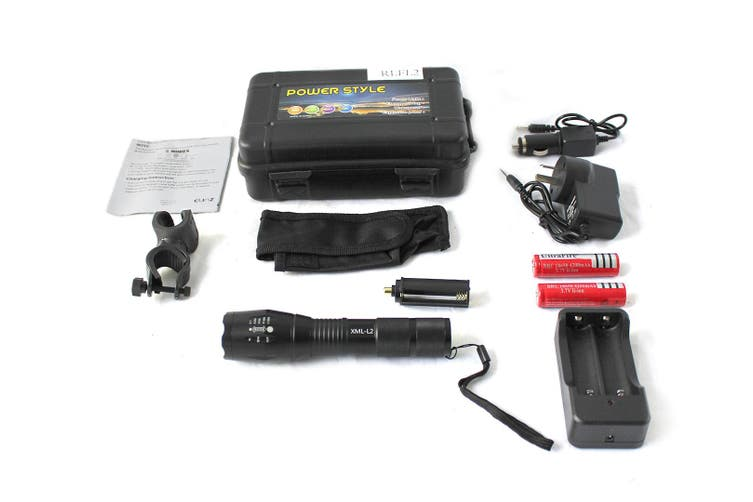 Raylight Flashlight CREE XML-L2 LED 8000LM Rechargeable 2x18650 Battery Lamp Waterproof Elinz