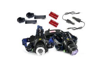Raylight 2x Headlight LED Torch CREE XM-L T6 Zoomable Headlamp Rechargeable 18650 Batteries Elinz