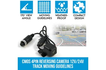 Elinz CMOS 4PIN Reversing Camera RearView Night Vision 12V/24V Track Moving Guidelines