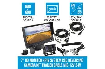 "Elinz 7"" HD Monitor 4PIN System CCD Reversing Camera Kit Trailer Cable MIC 12V 24V Black"