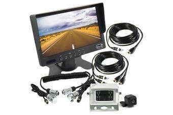 "Elinz 7"" HD Monitor 4PIN System CCD Reversing Camera Kit Trailer Cable MIC 12V 24V White"