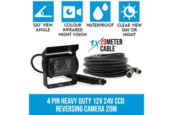 Elinz 4 PIN Heavy Duty 12V 24V CCD IR Colour Reversing Camera 20M