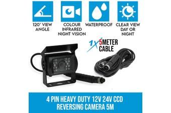 Elinz 4 PIN Heavy Duty 12V 24V CCD IR Colour Reverse Reversing Camera Rearview 5M