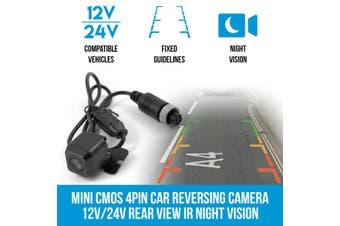 Elinz Mini CMOS 4PIN Car Reversing Camera Rear View IR Night Vision 12V/24V