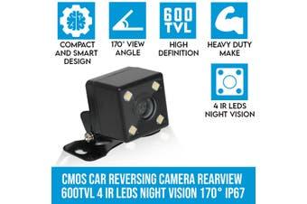 Elinz CMOS Car Reversing Camera Rearview 600TVL 4 IR LEDs Night Vision 170° 12V IP67