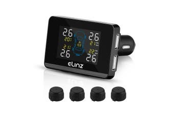 Elinz Car Auto Wireless Digital TPMS Tire Tyre Pressure Monitoring System Waterproof Sensors