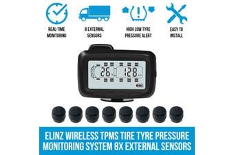 Elinz Wireless TPMS Tire Tyre Pressure Monitoring System 8x External Sensors Caravan