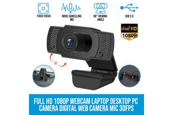 Elinz Full HD 1080P Webcam Laptop Desktop PC Camera Digital Web Camera Noise Cancelling Mic USB 2.0 30FPS