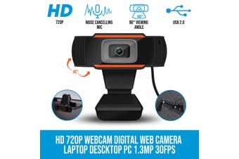 Elinz HD 720P Webcam Laptop Desktop PC Camera Digital Web Camera Noise Cancelling Mic 30FPS