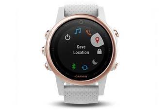 Garmin Fenix 5S Rose Gold Sapphire Multisport GPS Watch 42mm Case White Band