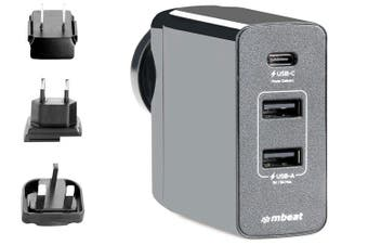 mbeat MB-CHGR-PD45 Gorilla Power 45W USB-C Power Delivery (PD 2.0) and Dual USB-A World Travel Charger